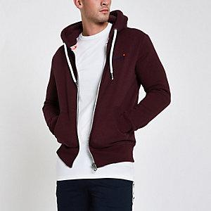 Superdry burgundy zip hoodie