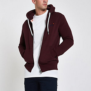 Superdry – Sweat à capuche zippé bordeaux