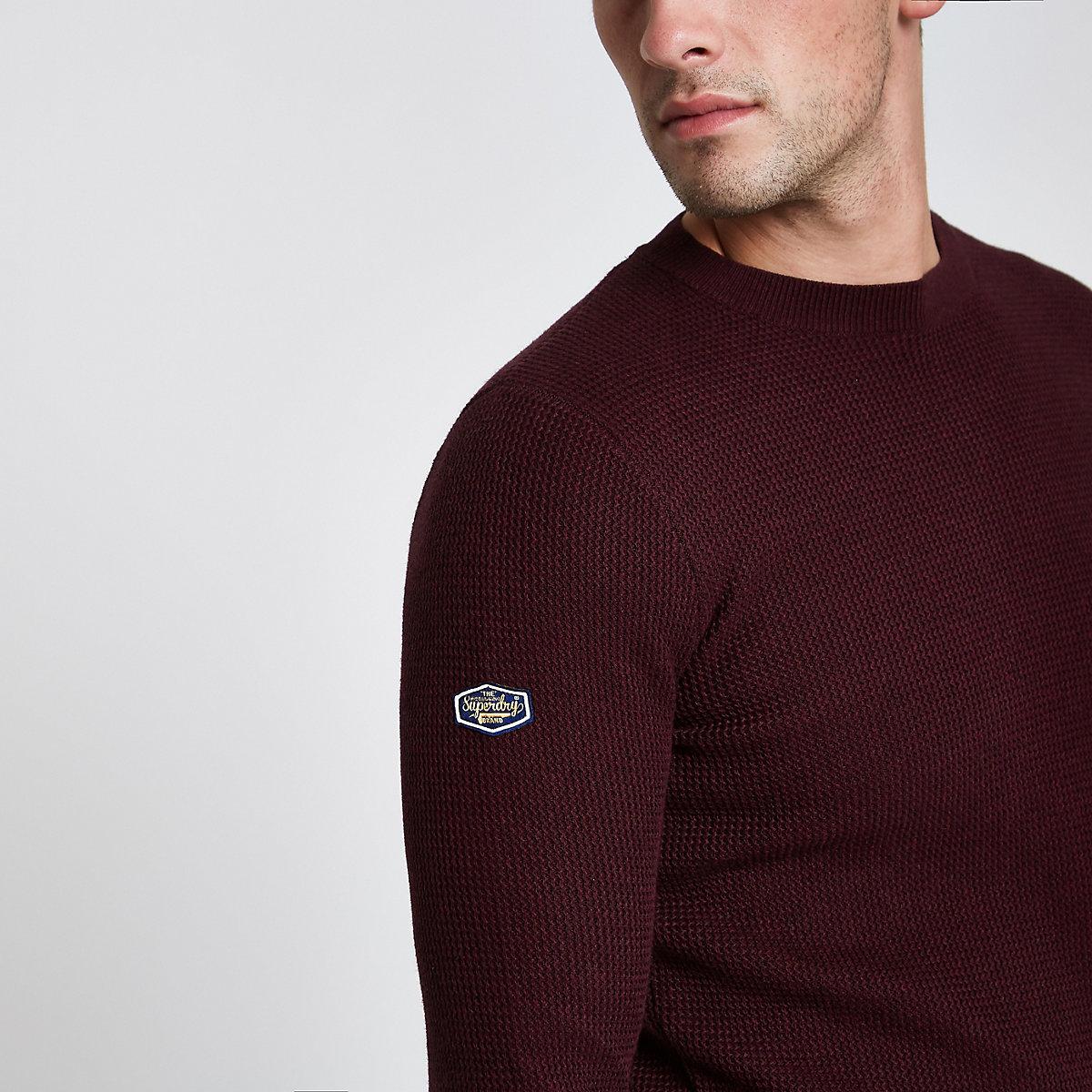 Superdry burgundy textured sweater