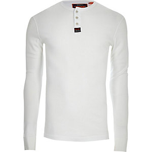 Superdry white knit button long sleeve shirt