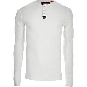 Superdry – T-shirt blanc à boutons et manches longues
