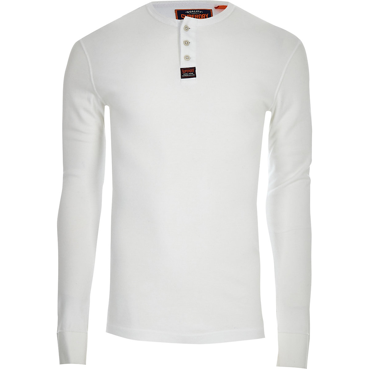 Superdry white button long sleeve T-shirt