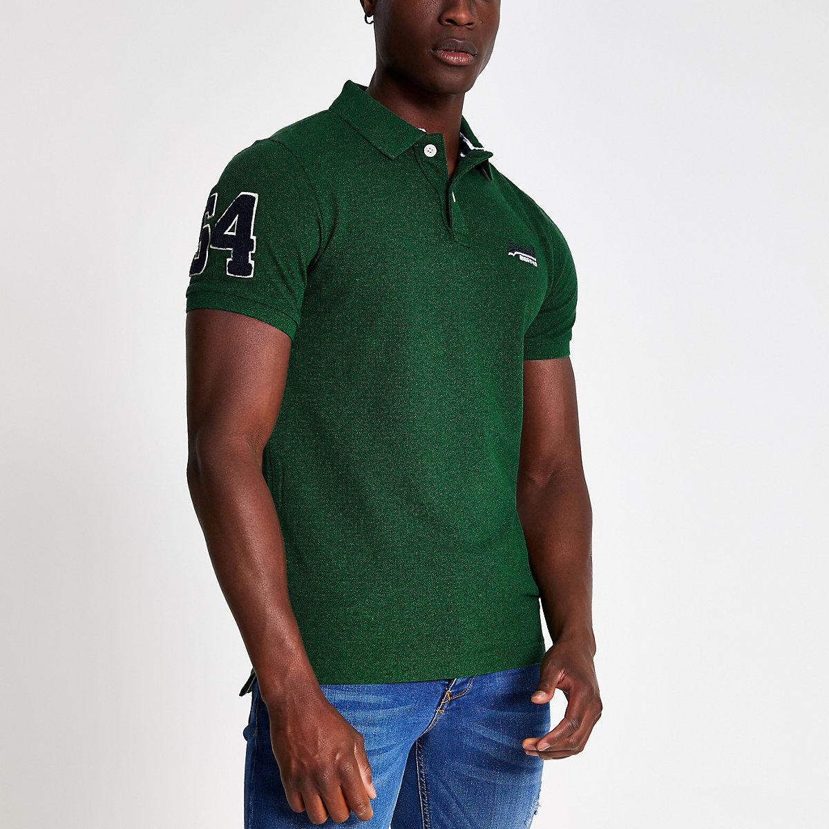 Superdry green logo pique polo shirt