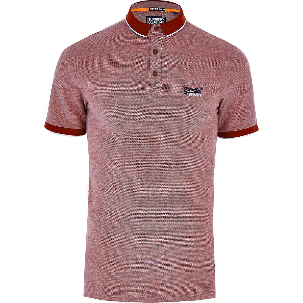 Superdry red logo pique polo shirt