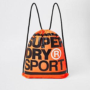 Superdry - Oranje tas met trekkoord en logoprint