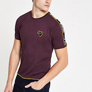 Gola - Bordeauxrood T-shirt met bies en ronde hals