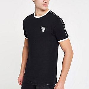 Gola - Zwart T-shirt met contrasterend randje en ronde hals