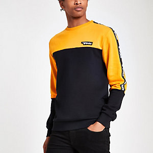 Gola yellow logo panel print sweatshirt