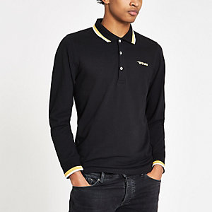 Gola black tipped long sleeve polo shirt
