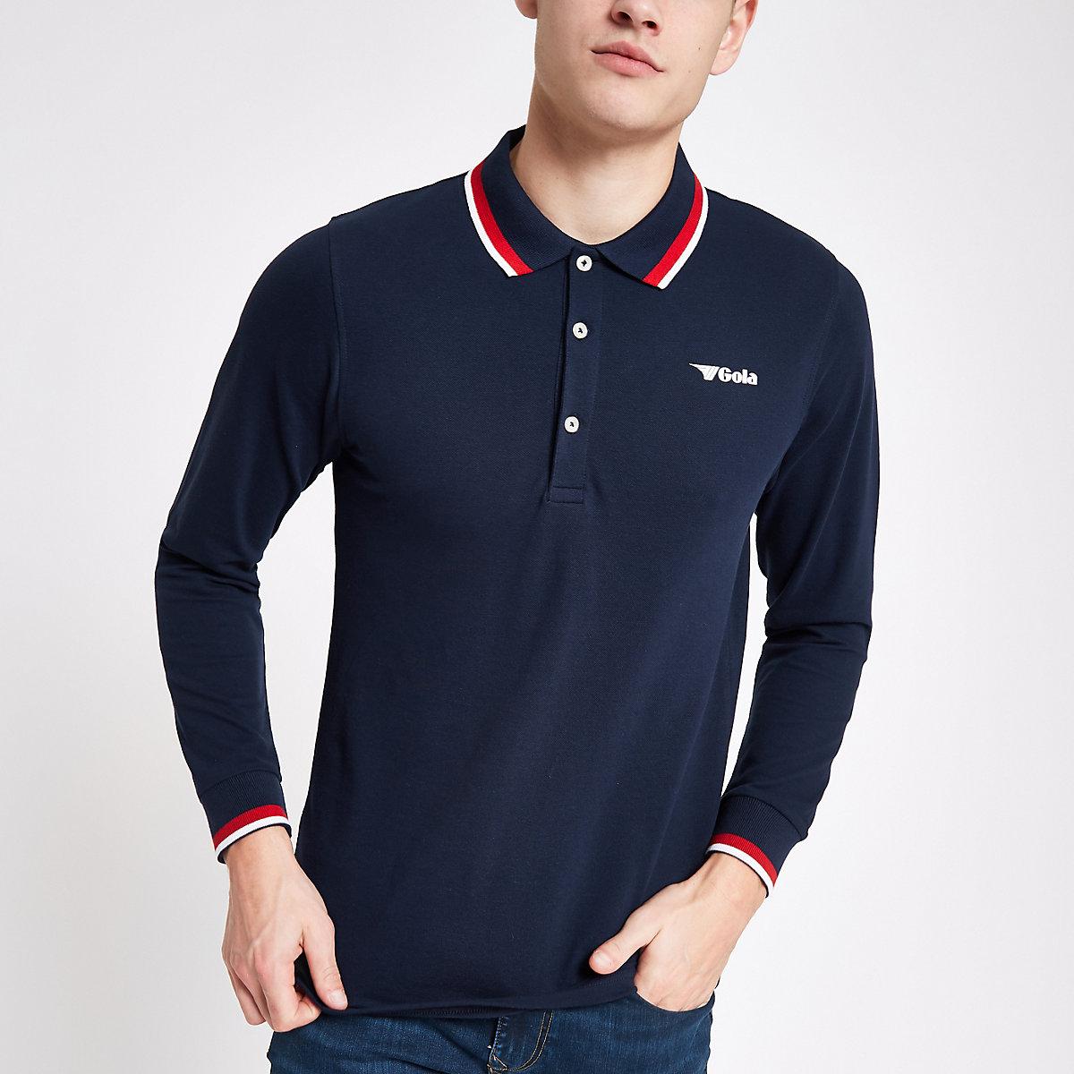 Gola navy tipped long sleeve polo shirt