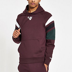 Gola burgundy colour block hoodie