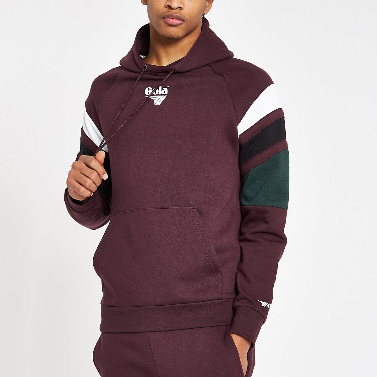 Gola burgundy color block hoodie