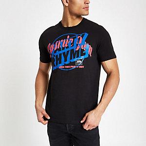 Lee - Zwart T-shirt met 'party rhyme'-print