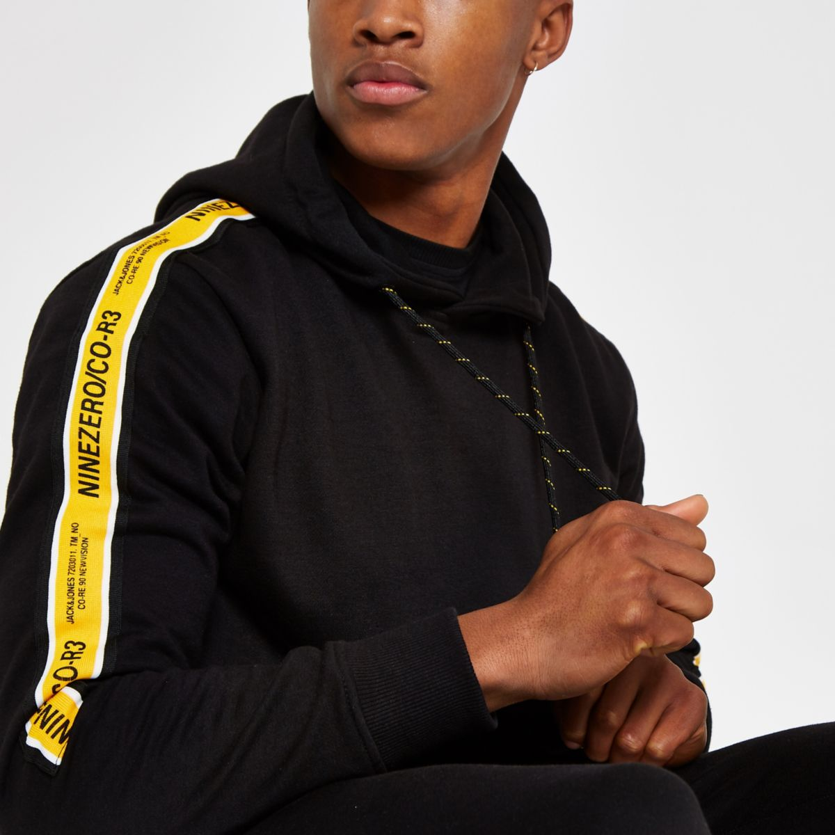 Jack & Jones black tape hoodie