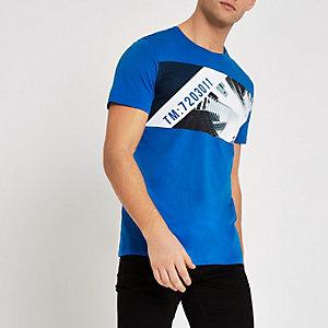 Jack & Jones – T-shirt à imprimé paysage urbain bleu