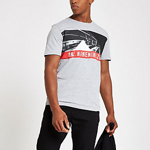 Jack & Jones grey crew neck T-shirt