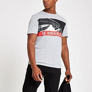 Jack & Jones - T-shirt gris à col ras du cou