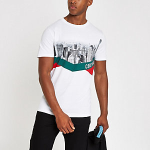 Jack & Jones white skyline print T-shirt