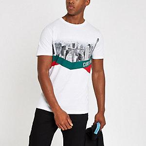 Jack & Jones – T-shirt à imprimé gratte-ciel blanc
