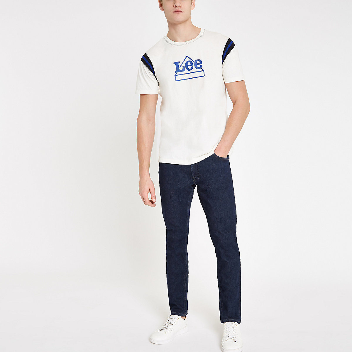 Lee blue tapered slim fit jeans