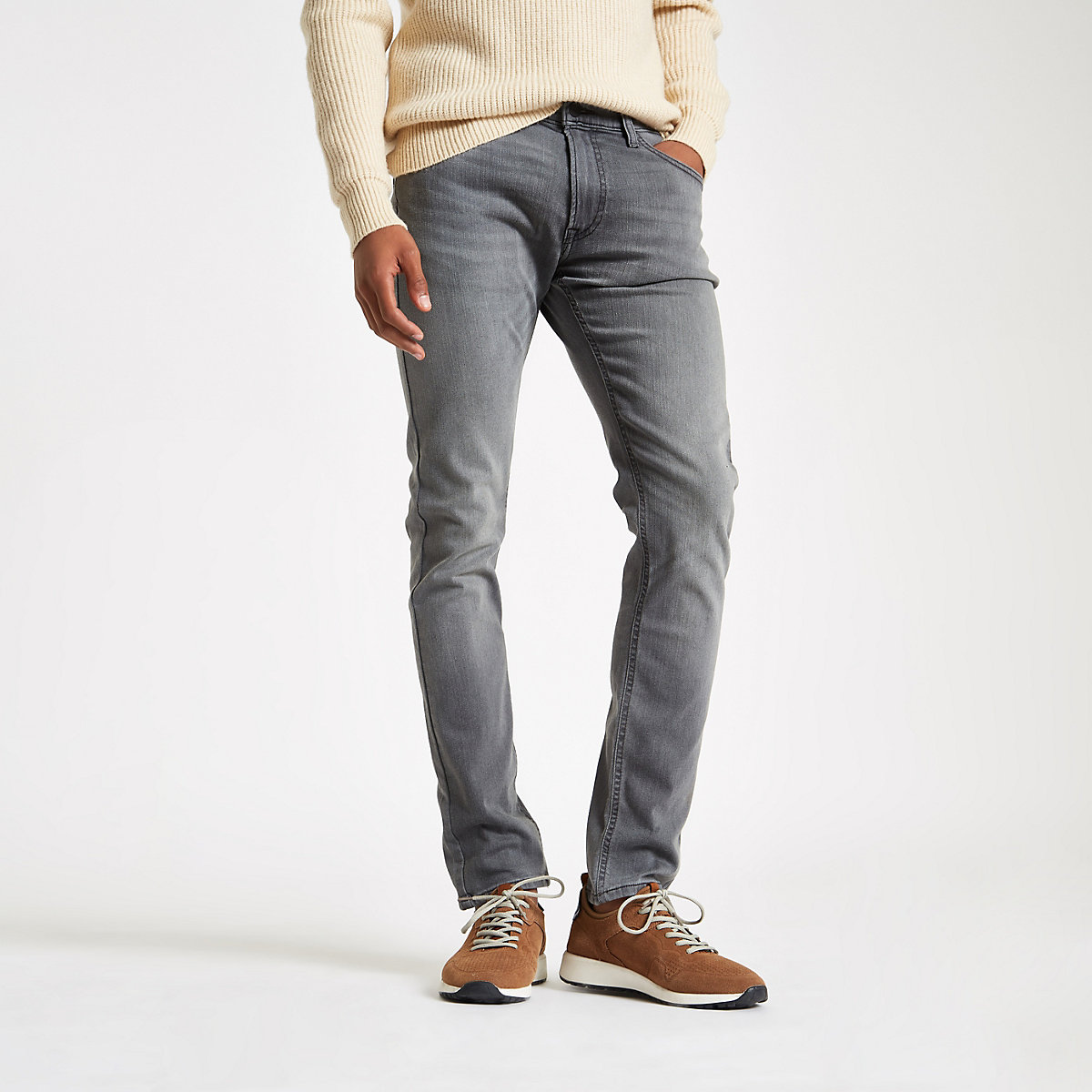 Lee grey Luke slim fit tapered jeans