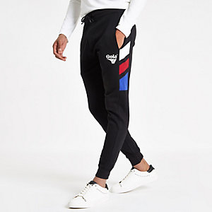 Gola black colour block joggers