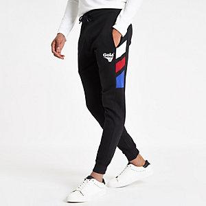 Gola - Zwarte joggingbroek met kleurvlakken