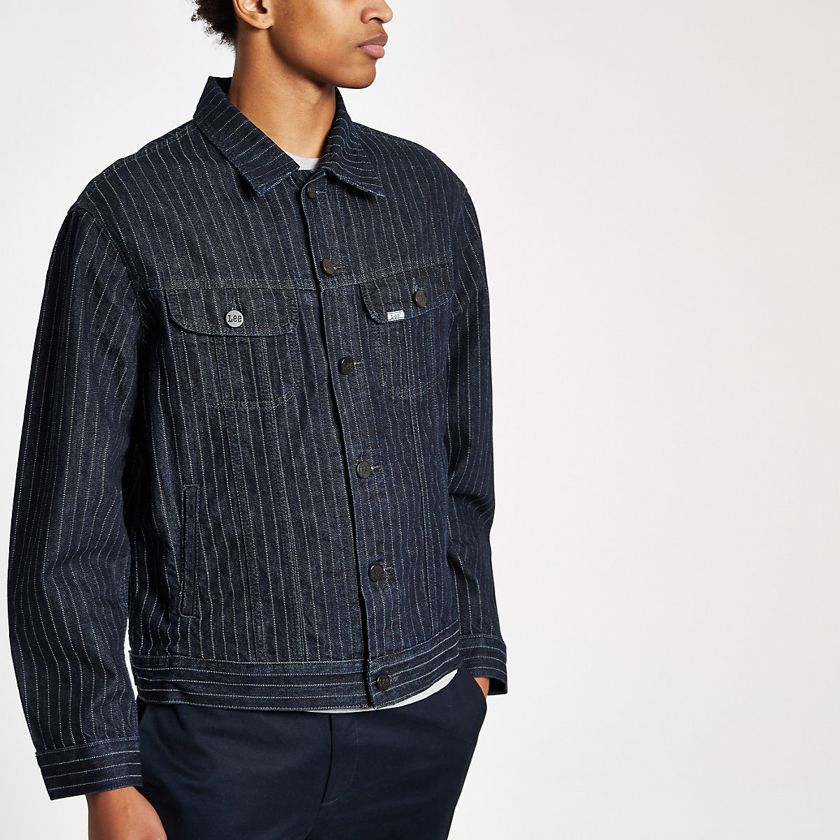 Lee navy stripe denim jacket
