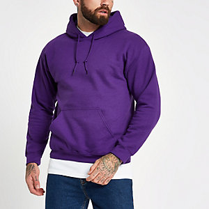 Paarse hoodie met lange mouwen