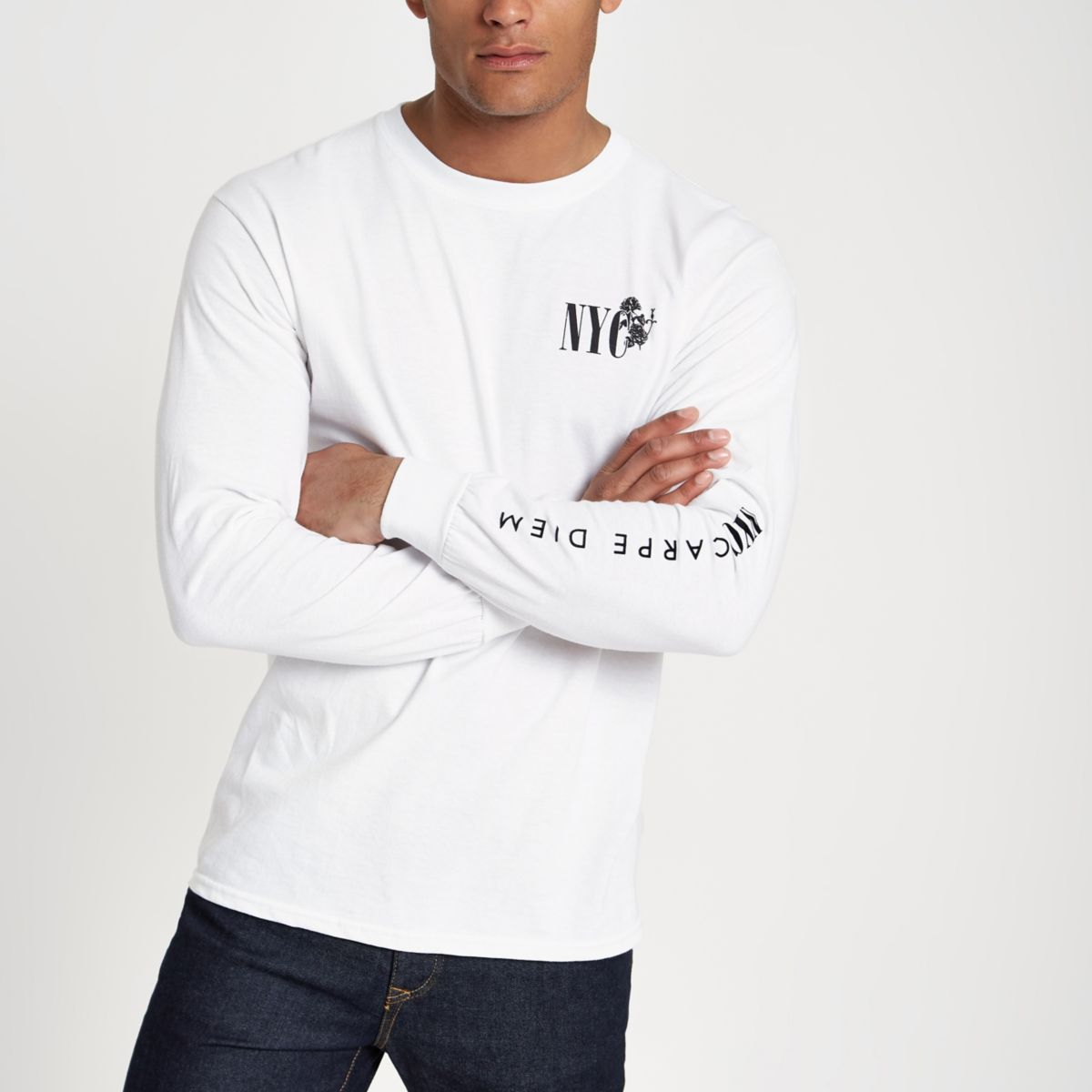 White slim fit 'NYC' long sleeve T-shirt
