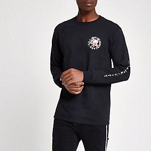 Zwart slim-fit T-shirt met lange mouwen en 'NYC'-print