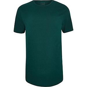 T-shirt long bleu canard à ourlet arrondi
