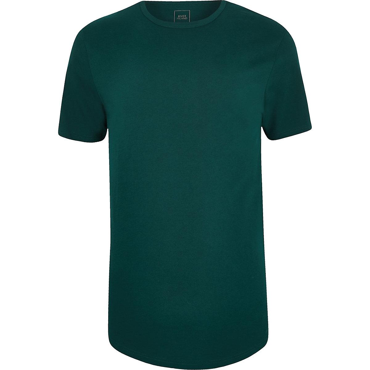 Teal longline curved hem T-shirt