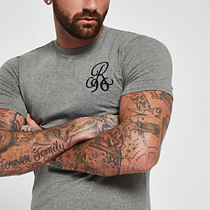 Grey muscle fit 'R96' embroidered T-shirt