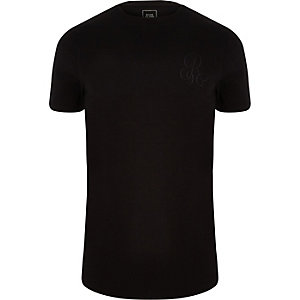 Black 'R96' muscle fit crew neck T-shirt