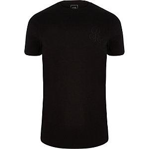 Zwart aansluitend T-shirt met 'R96'-print en ronde hals