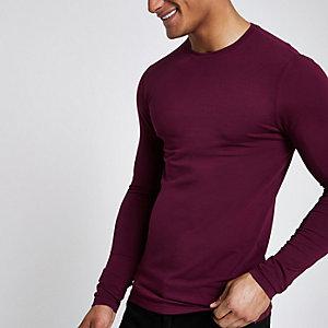 Dunkelrotes Muscle Fit T-Shirt mit langen Ärmeln