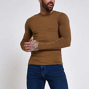 Dark brown muscle fit long sleeve T-shirt