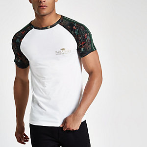 White 'paradise' muscle fit raglan T-shirt