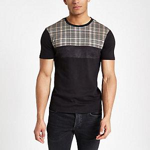 Zwart geruit aansluitend T-shirt