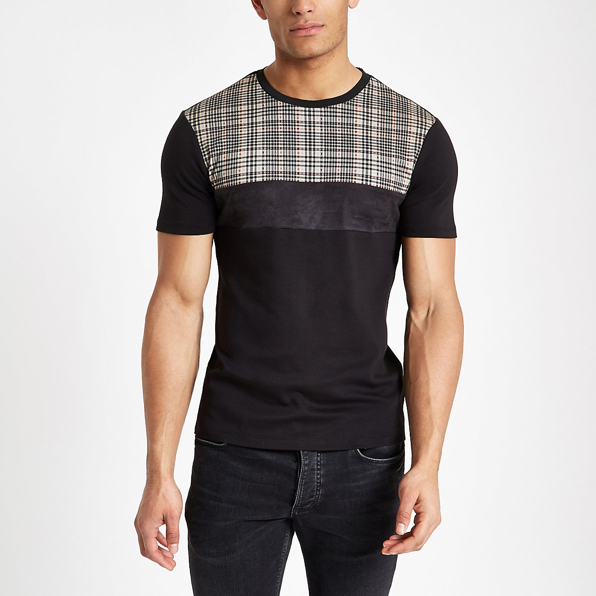 Black check muscle fit T-shirt