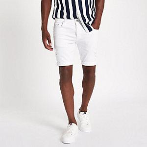 White skinny fit denim shorts
