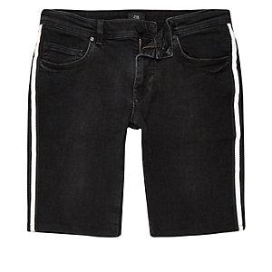 Black tape side skinny shorts