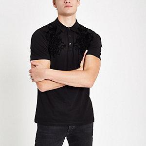 Schwarzes Polohemd mit Print