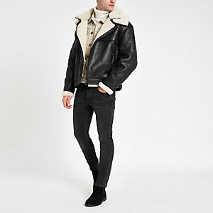 Black fleece lined biker jacket