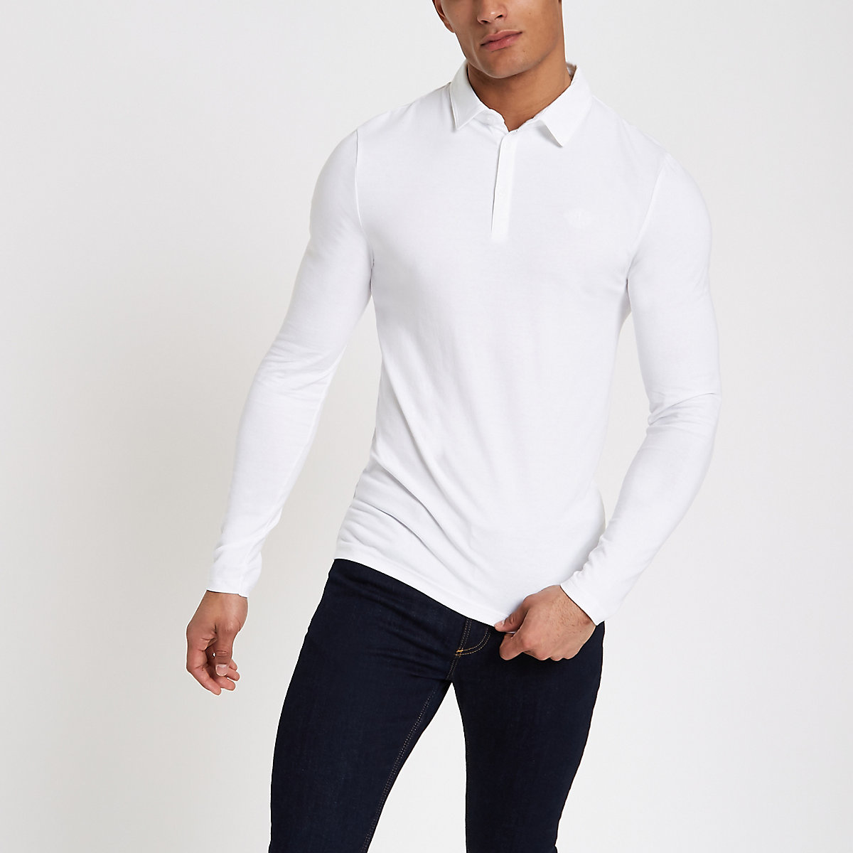 White muscle fit long sleeve polo shirt