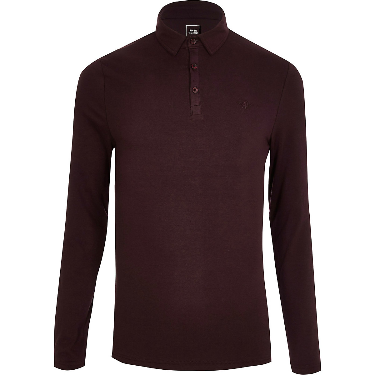 Dark Red Muscle Fit Long Sleeve Polo Shirt Polo Shirts Men