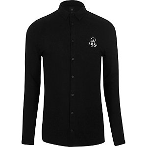 Black pique muscle fit long sleeve shirt