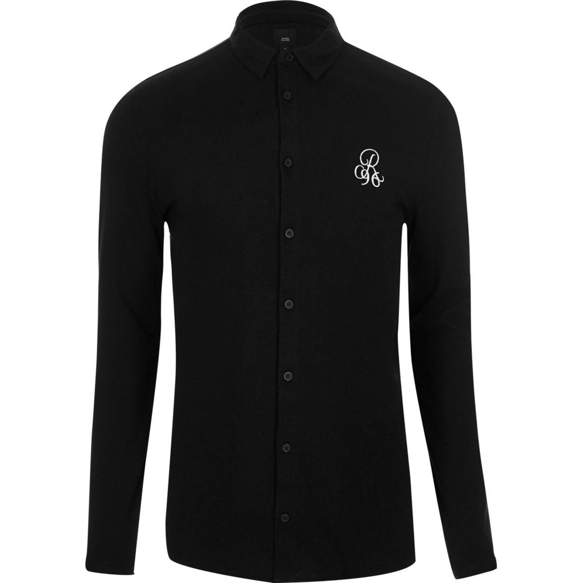 Black pique muscle fit long sleeve shirt