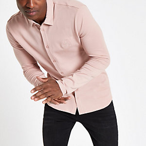 Pink 'R96' muscle fit button-down shirt